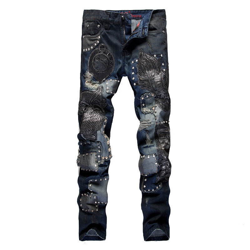 Sokotoo Men's Owl Embroidery Slim Straight Jeans Fashion Rivet Patchwork Denim Pants