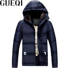 GUEQI Berber Fleece Men Warm Parkas Size M-4XL  Black & Blue Hooded Outerwear 2017 Cold Winter Men Windproof Coats