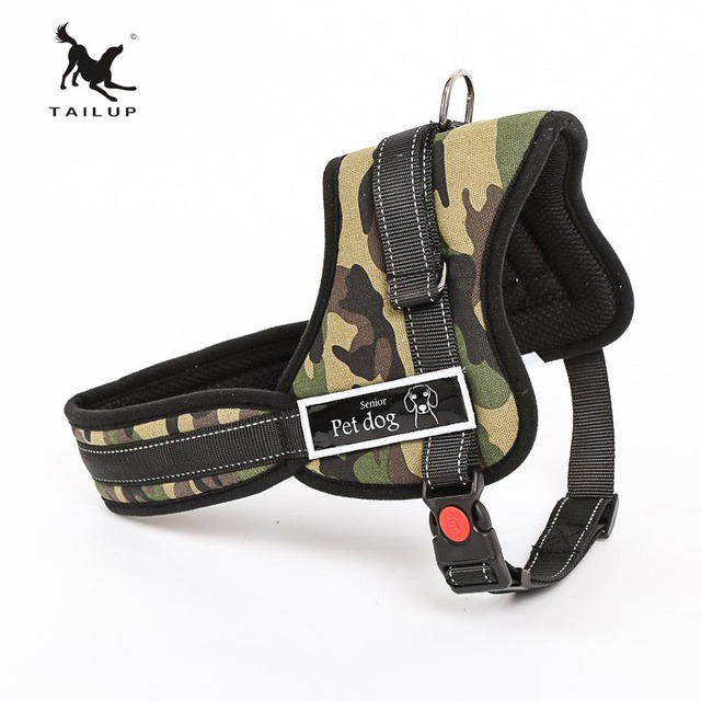 TAILUP Luxury Collar For Large Dogs Reflective Police K9 Soft Harness Vest Pet Shop Dog Accessories S-2XL
