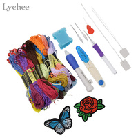 Lychee Magic Embroidery Pen Punch Needles Set Clothing Punch Needle Embroidery Thread Rose Butterfly Patch Sewing Accessories