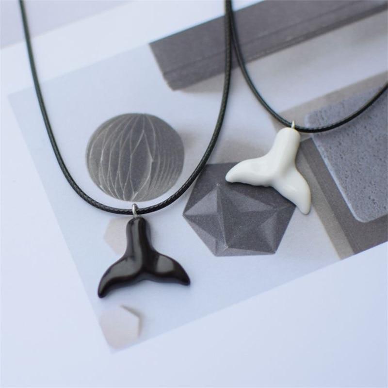Fashion personality clavicle chain whale black fishtail pendant necklace couple necklace jewelry Free Shipping in Pendant Necklaces from Jewelry Accessories
