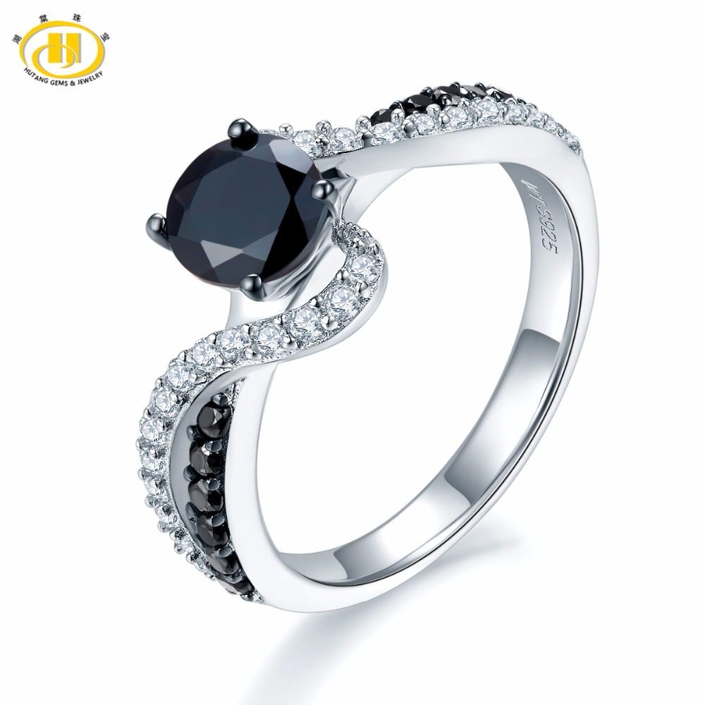 Hutang Engagement Ring Solid 925 Sterling Silver Natural Gemstone Black Spinel Infinity Fine Fashion Jewelry For Women's Gift