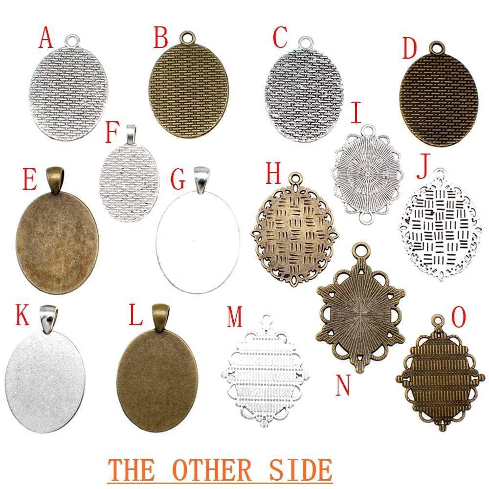5 Buah 18X25 Mm Bulat Kaca Cabochon Dasar Pengaturan Liontin Tray untuk Perhiasan DIY Membuat Beads untuk Perhiasan bahan