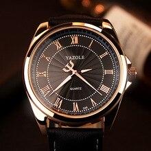 Nouveau Luxe YAZOLE No 336 Rétro-Éclairage En Cuir Noir Brun Montre-Bracelet Montre pour Hommes Hommes D'affaires Garçon Haute Qualité OP001