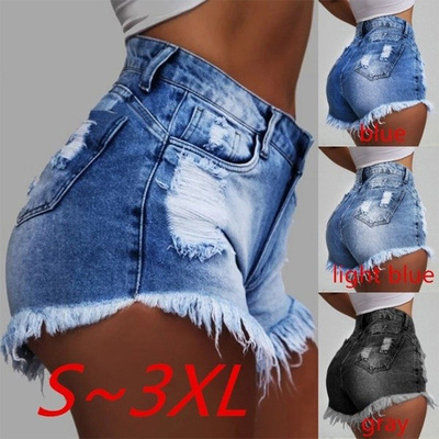 Women Summer Ripped Hole Denim   Shorts   Zipper Tassel Jean   Short   Feminino