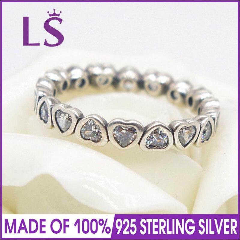 LS Лидер продаж высокое качество 100% Аутентичные стерлингового серебра 925 навсегда больше наборное кольцо, для женщина стерлингового серебра...