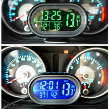 3 in 1 LCD Digital Car Clock Thermometer Voltmeter Voltage Temperature Sensor Gauge Celsius Fahrenheit Backlight Adjustable