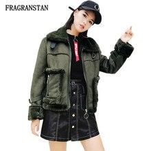 Mujer Otoño Invierno Cordero flocado Parka mujeres abrigo nuevo Turn Down  Collar Coat Vintage ejército verde manga larga chaquet. 59e703435ed
