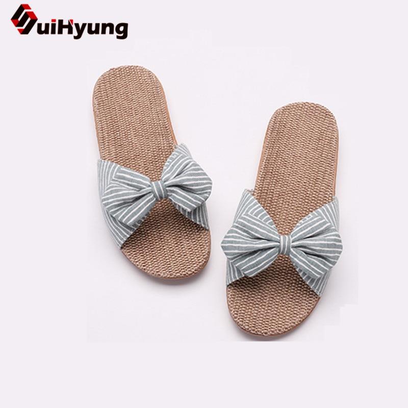 Suihyung Women Summer Casual Slides Comfortable Flax Slippers Striped Bow Linen Flip Flops Platform Sandals Ladies Indoor Shoes