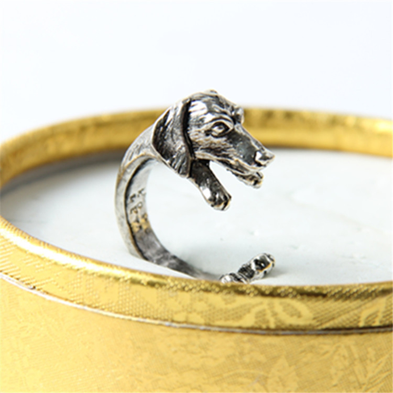 Vintage Hippie Chic Dachshund Dog Ring Animal Sausage Dog Boho Ring Brass Knuckles Rings For Men Women  Jewelry