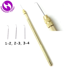 HARMONY 1pc Copper Brass Holder + 3pcs Ventilating Needles For Making Lace Wigs Toupee Hairpiece Wig