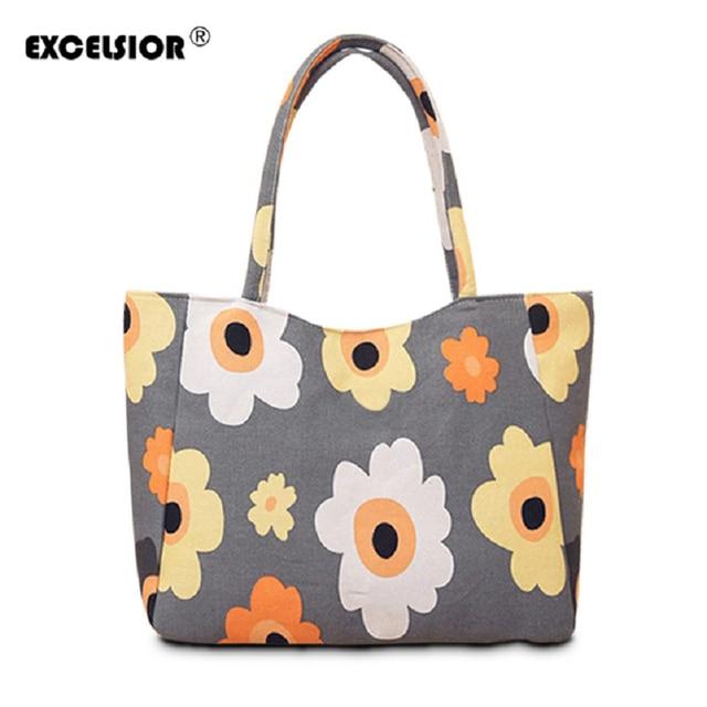 Excelsior водонепроницаемый холст случайные молния хозяйственная сумка большая сумка женщин сумки цветочные печатные дамы одно плечо мешок пляжа