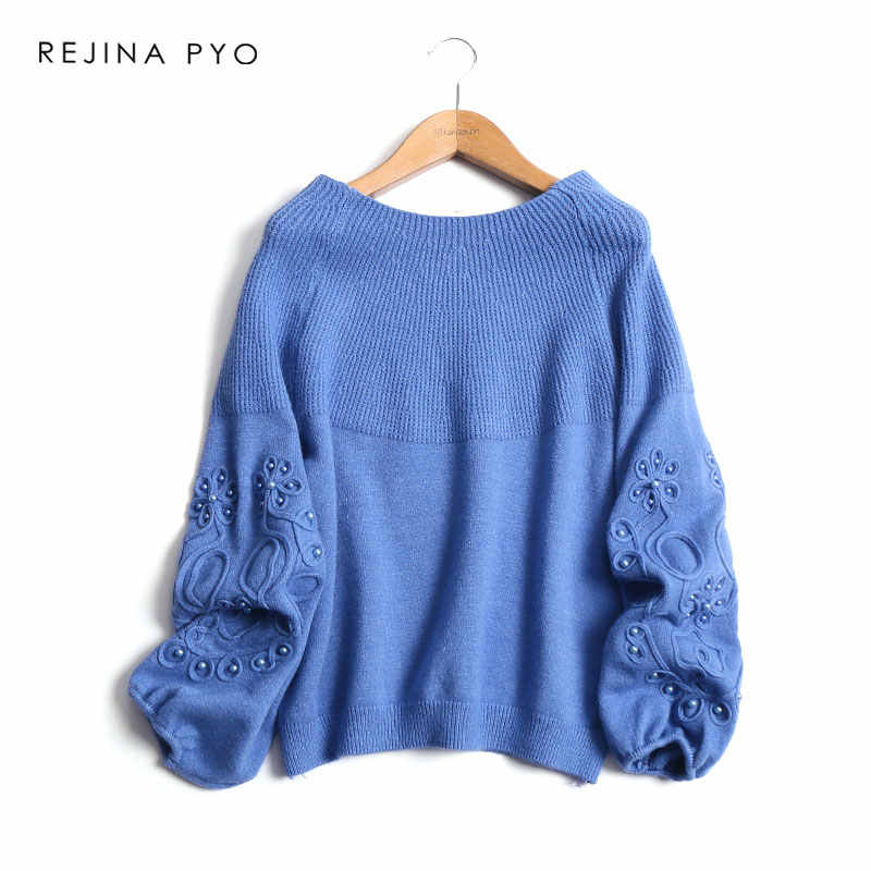 REJINAPYO Women Sweet Solid Loose Knitted Sweater Lantern Sleeve Floral Crochet Beading Decoration Slash Neck Pullovers One Size