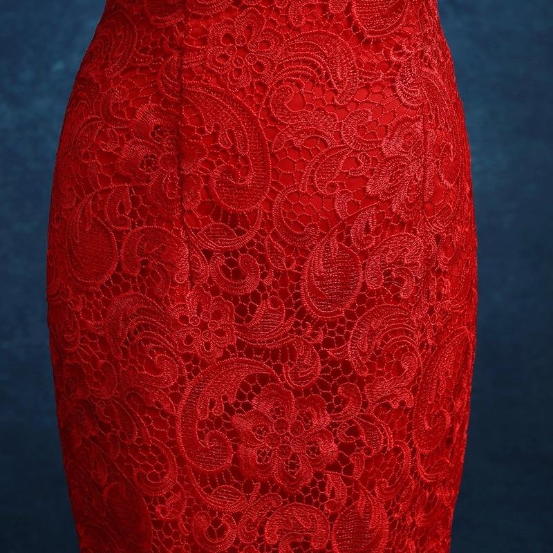 dentelle rouge traînant sans manches sirène moderne cheongsam robes - Vêtements nationaux - Photo 5