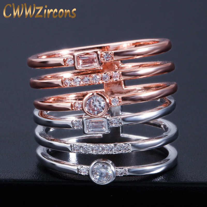 CWWZircons เรขาคณิต Silver และ Rose Gold CZ Cubic Zirconia สุภาพสตรีแหวน Knuckle ใหม่แฟชั่น Punk เครื่องประดับ R118