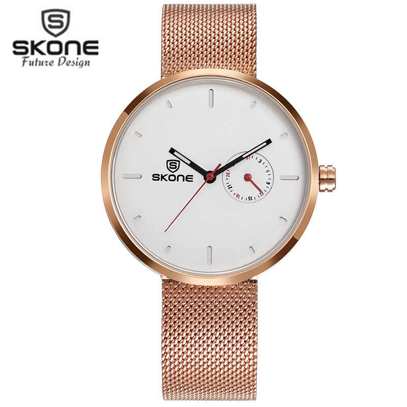 Skone Brand Women Wrist Watch Men Stainless Steel Gold Mesh Quartz Wristwatch Fashion Women Clock Ladies Watch Relogio Feminino feitong luxury brand watches for women ladies watch full stainless steel gold mesh band wristwatch wristwatch relogio feminino