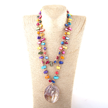 New Fashion Bohemian Jewelry Shell And Crystal beads Long knotted Shell Charm Pendant Necklace csja long necklace collier silk tassel pendant knotted abalone shell 4mm matte crystal faceted beads charm jewelry handmade s055