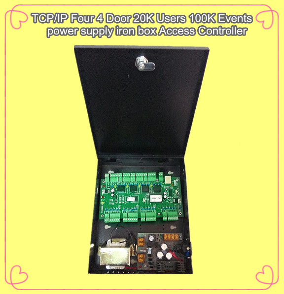 WG2004.NET TCP/IP Four 4-Door Access Controller 20K Users 100K Events MEM Alarm Trigger Programmable with power supply biometric face and fingerprint access controller tcp ip zk multibio700 facial time attendance and door security control system
