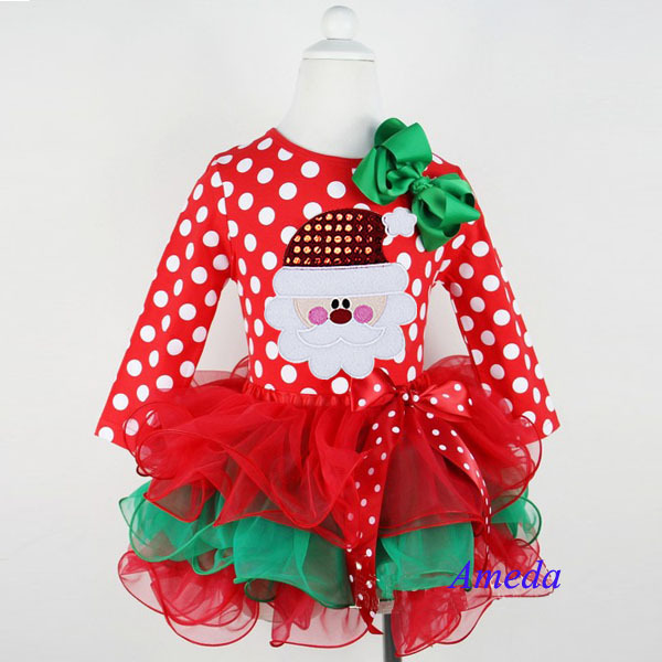 new 2017 girl christmas dress merry christmas santa dresses kids cotton dot casual dress girls tutu dress girl clothes costume in dresses from mother kids