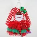 New 2017 Girl Christmas Dress Merry Christmas Santa Dresses Kids Cotton Dot Casual Dress Girls Tutu Dress Girl Clothes Costume