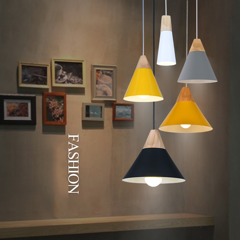 Nordic modern dining room pendant light simple LED solid wood aluminum art European small pendant light decoration lamp nordic creative personality dining room pendant light rectangular post modern studio light office light solid wood led lamp