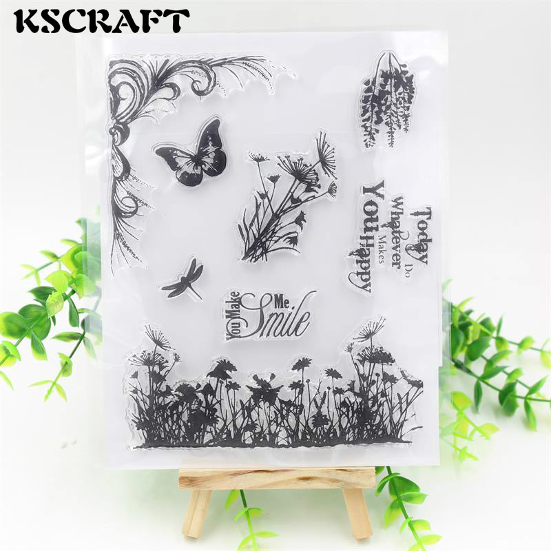 KSCRAFT Butterfly Transparent Clear Silicone Stamps for DIY Scrapbooking/Card Making/Kids Christmas Fun Decoration Supplies kscraft butterfly and insects transparent clear silicone stamps for diy scrapbooking card making kids fun decoration supplies