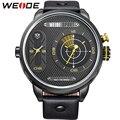 Weide Men Quartz Watch moda Casual esportes masculinos relógios Relogio Masculino marca duas vezes zonas Display à prova d ' água relógios de pulso