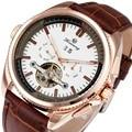 WINNER Luxury Top Brand Men Mechanical Automatic Watch Man Tourbillon Wristwatch Calendar Date Luminous Hands Sub-dials +BOX