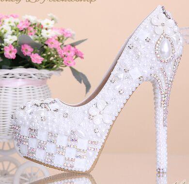 2015 pure witte parel bloem trouwschoenen ultrahoge met kristal boren bruid schoenen ondiepe ronde hoofd jurk schoenen plus size