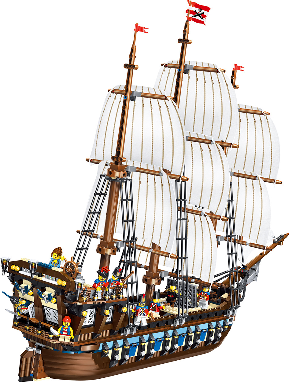 39010 1779pcs Pirate Of The Caribbean Ship Imperial warships Lele Building Block Compatible 10210 Brick Toy