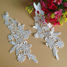 20Pieces Embroidered Patches White Lace Appliques Applique Flowers DIY Sewing Fabric Crafts For Wedding Dresses