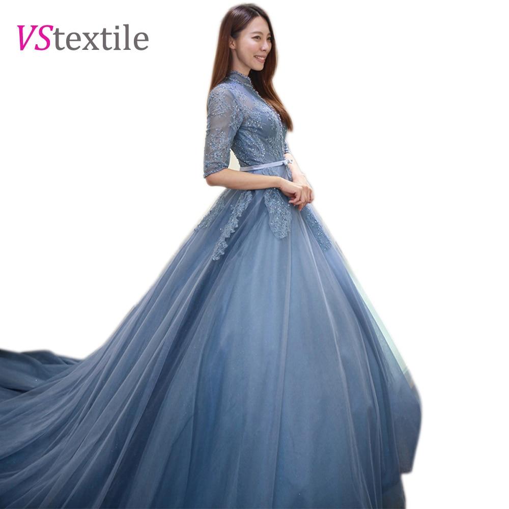 royal train collar half sleeves blue wedding dress 2018 bridal gowns ...