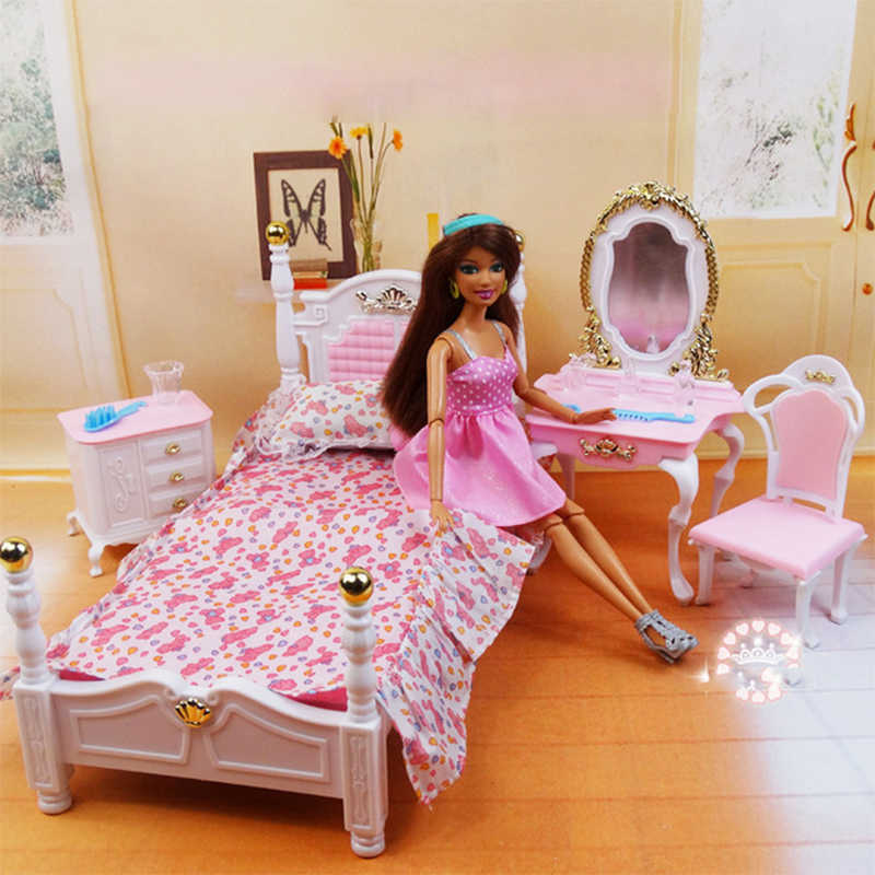 New Arrival Miniature Furniture Bedroom & Dresser for Barbie Doll House Classic Toys for Girl Free Shipping Princess Bed Dresser
