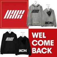 iKON Sweatshirt Kpop iKON B.I Bobby Clothing iKON Welcome Back K pop Hoodie Long Sleeved Winter Clothes iKON Printing Pullovers