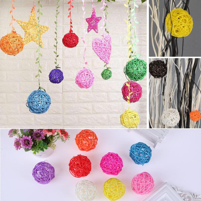 5pcs DIY Cute Round Rattan Ball Wicker Ornament Wedding Party New Year Decor Gifts DIY Sepak Takraw Balls Kids Toys