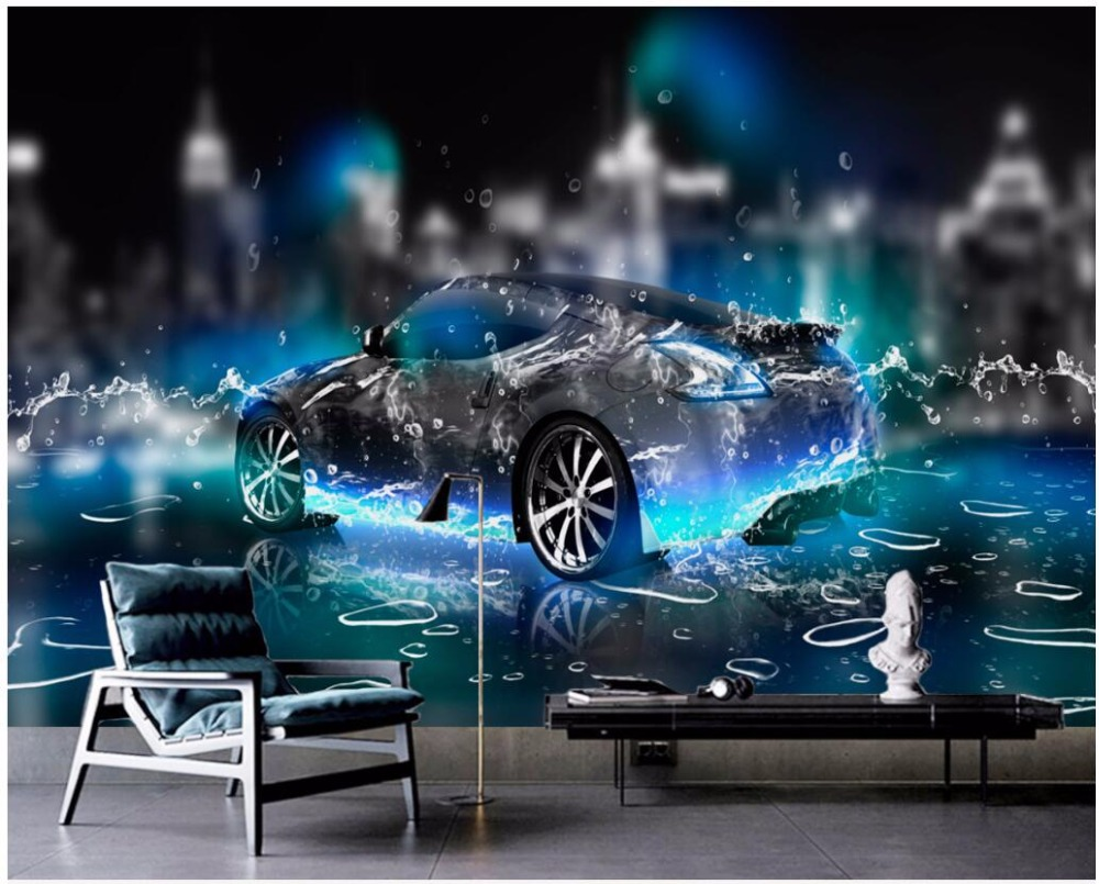3d wallpaper custom photo water sports car living room decoration