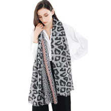 Ladies Fashion Retro Leopard Print Scarves Spring Cotton Linen Soft Oversized Silk Scarf Shawls And Wraps Women Accessories