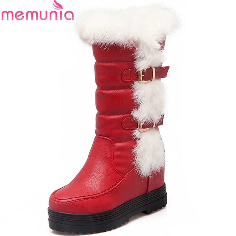 MEMUNIA 2018 hot sale mid calf boots round toe winter snow boots buckle fashion platform shoes woman slip on ladies boots gladiator lady mid calf cowboy flats boots shoes round toe fringed slip on fashion boots leather long sexy boots shoes free ship