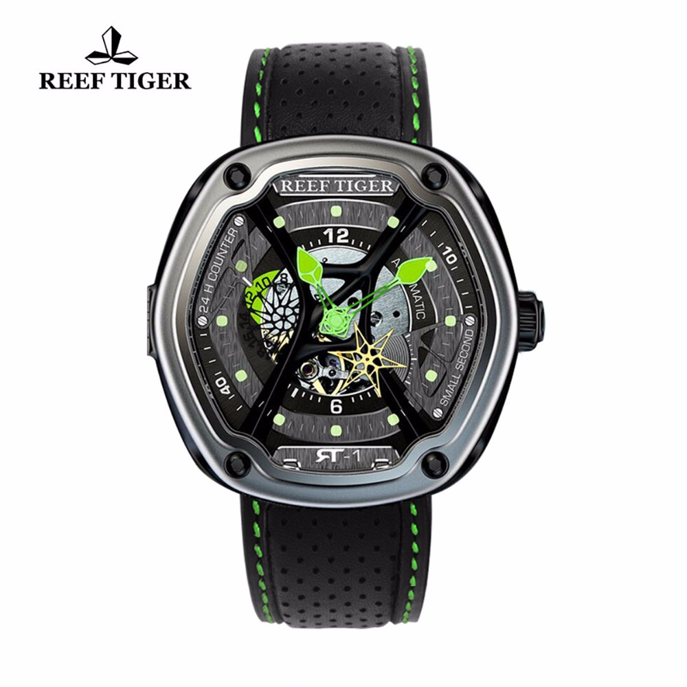 Reef Tiger/RT Luxury Sport Watch Luminous Dial  Automatic Creative Design Dive Watch Nylon/Leather/Rubber Strap RGA90S7 reef tiger rt top brand automatic watches enjoy your live style dive watch luminous nylon leather rubber watches rga90s7