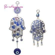 BRISTLEGRASS Turkish Blue Evil Eye Hamsa Hand Flower Amulets Lucky Charm Wall Hanging Pendant Pendulum Blessing Protection Decor