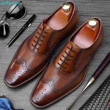 QYFCIOUFU Mens Brogue Shoes Genuine Leather Footwear Patina Wedding Office Formal Men Oxford Square Toe Dress