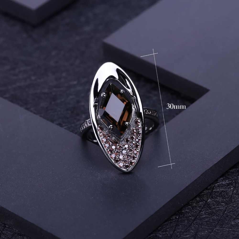 GEM'S балет природный дымчатый кварц кольцо с драгоценным камнем 925 стерлингового серебра винтажные готические кольца для женщин ювелирные украшения