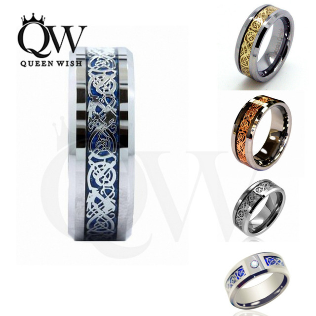Wholes Queenwish 8mm Celtic Dragon Tungsten Carbide Ring Matching