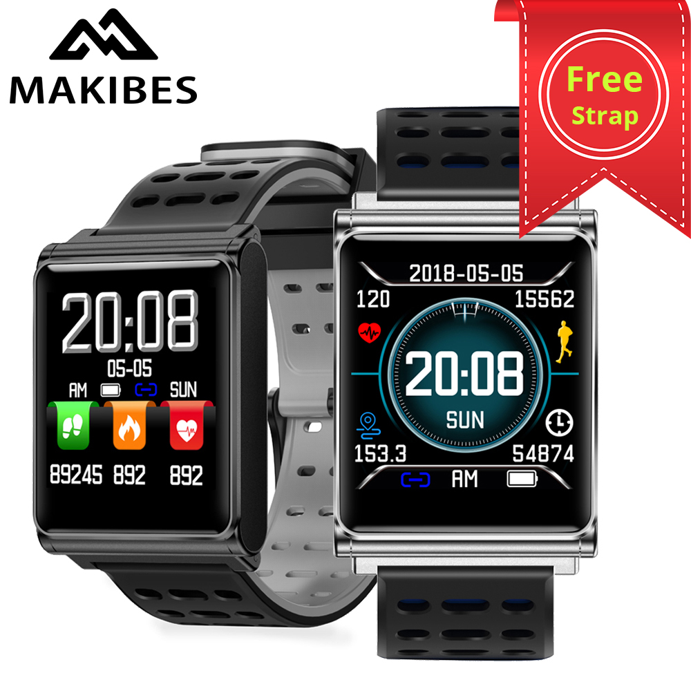 Free strap Makibes CK02 Smart Watch Men Women Blood Pressure Heart Rate Monitor Fitness Tracker Clock Smartwatch For IOS Android цена