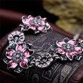 El envío gratuito! nueva Llegada de bohemia nacional de lujo cristal flor colgante gargantilla Joyas declaración de moda collar falso