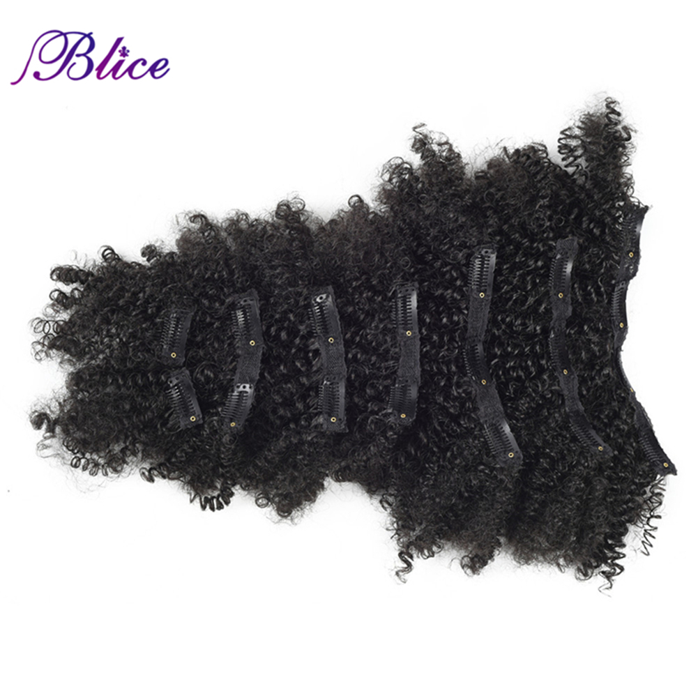 Blice Heat Resistant Synthetic 18 Clips In Hairpieces 6 Inch Curly Hair Extensions 8Pcs/set All Color Available