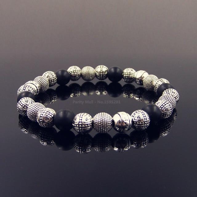 Silver Beads And Black Obsidian Bracelet Length 16-25cm For Men Trendy Gift Thomas Style Rebel At Heart TS Masculine Bracelets