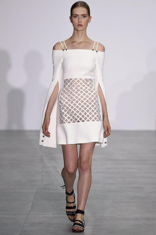 Femmes élégantes robe fendue à manches longues Slash cou sangle Mini robe de soirée