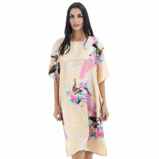 Novelty Peacock Flower Print Women Nightwear Bat Sleeve Kaftan Nightgown  Sleepwear Chinese Style Nightdress Plus Size JA23 5f1b7ec66
