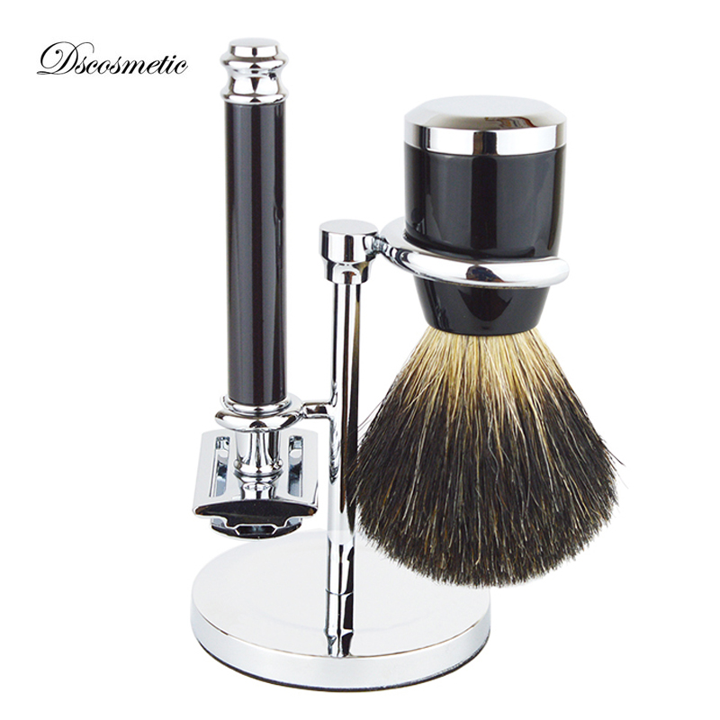 DS shaving brush set with badger hair shaving brush double edge safety shaving razor holder and shaving brush stand titan razor brush shaving brush with wooden handle best badger hair brush